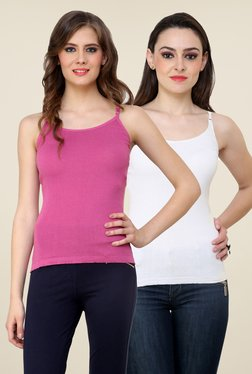 Renka Pink & White Solid Cami Top (Pack Of 2)