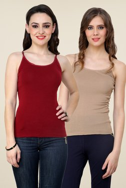 Renka Maroon & Beige Solid Cami Top (Pack Of 2)