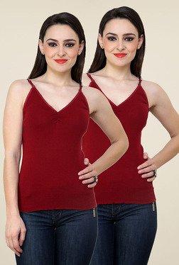 Renka Maroon Solid Cami Top (Pack Of 2)