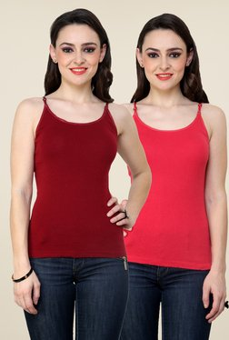 Renka Maroon & Coral Solid Cami Top (Pack Of 2)
