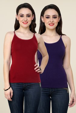 Renka Maroon & Purple Solid Cami Top (Pack Of 2)