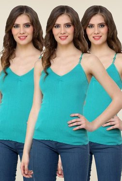 Renka Turquoise Solid Cami Top (Pack Of 3)