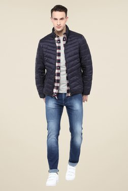 celio* Navy Solid Bomber Jacket