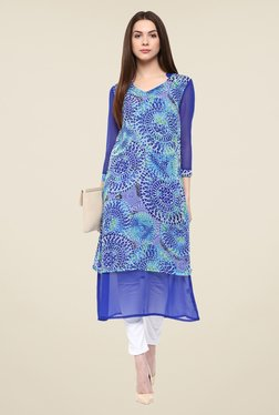 Color Cocktail Blue Printed Tunic