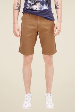 s.Oliver Brown Solid Shorts