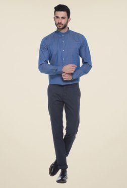 Basics Navy Solid Chinos - Mp000000000772189