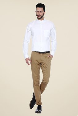 Basics Khaki Solid Chinos - Mp000000000771555