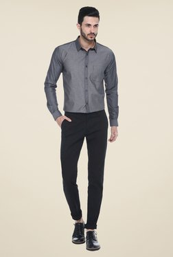Basics Black Solid Chinos