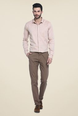 Basics Brown Solid Chinos - Mp000000000772343