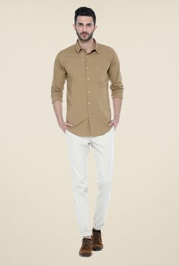 Basics Beige Solid Chinos - Mp000000000772346