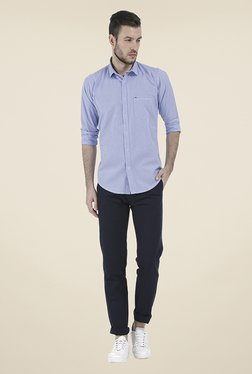 Basics Navy Solid Chinos - Mp000000000771830