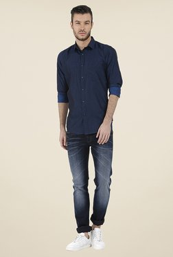 Basics Navy Solid Shirt