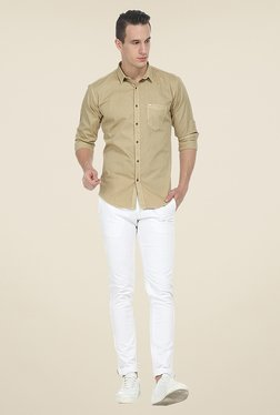 Basics Beige Solid Shirt