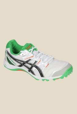 Asics Gel-Gully 5 White & Green Cricket Shoes