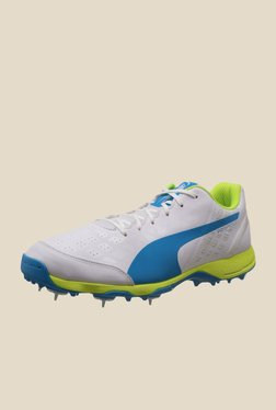 Puma evoSPEED Spike 1.4 White & Blue Cricket Shoes