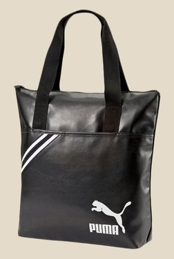 Puma Archive Black Leather Solid Tote Bag