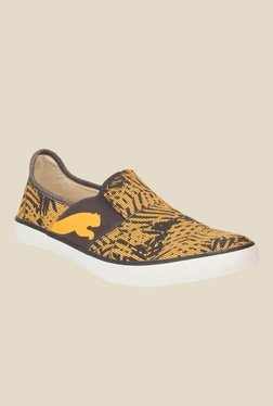 Puma Lazy Graphic DP Yellow & Brown Plimsolls