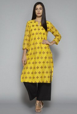 Zuba by Westside Yellow Floral Print Kurta