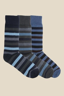 Blacksmith Striped Assorted Cotton Socks - Pack of 3