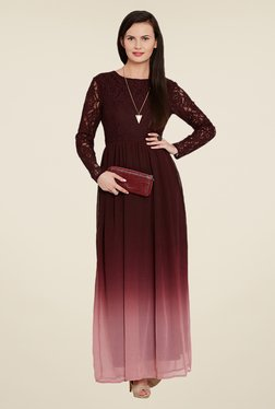 Ozel Maroon Lace Dress