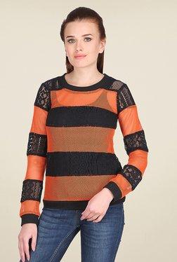 Ozel Orange & Black Lace Sweatshirt