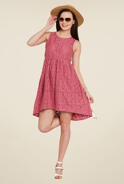 Ozel Pink Lace Dress