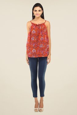 Ozel Orange Floral Print Top