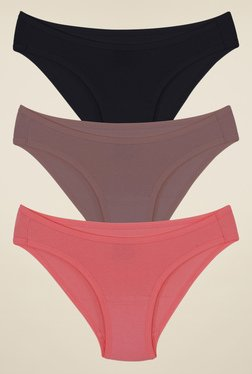 Amante Black, Beige & Pink Solid Bikini (Pack Of 3)