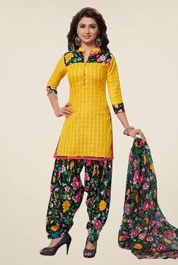 Salwar Studio Yellow & Black Checks Dress Material