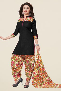 Salwar Studio Black & Orange Striped Dress Material