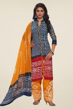 Salwar Studio Grey & Mustard Batic Print Dress Material