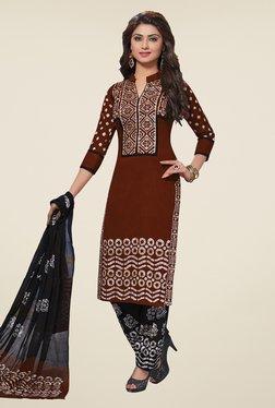 Salwar Studio Brown & Black Batic Print Dress Material