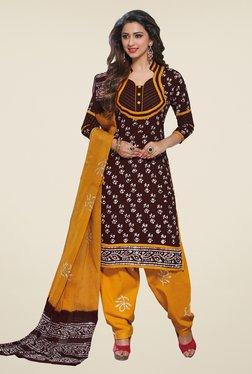 Salwar Studio Brown & Mustard Batic Print Dress Material
