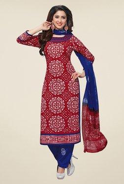 Salwar Studio Red & Blue Batic Print Dress Material