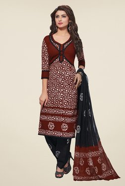Salwar Studio Brown & Black Batic Print Dress Material - Mp000000000781339