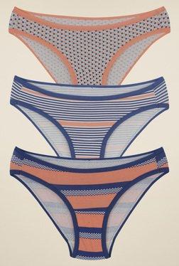 Amante Grey, Blue & Peach Print Bikini (Pack Of 3)
