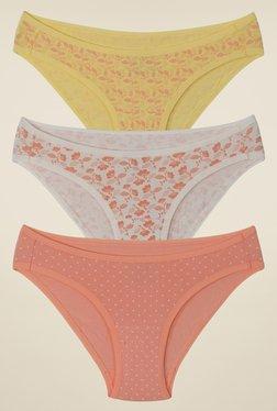 Amante Yellow, Beige & Peach Print Bikini (Pack Of 3)