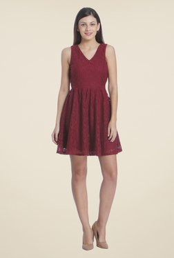 Only Maroon Lace Dress