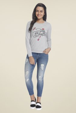 Only Grey Printed Sweatshirt