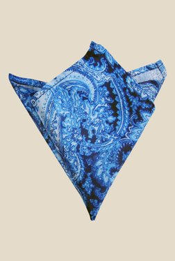 Blacksmith Blue Water Paisley Printed Satin Pocket Square
