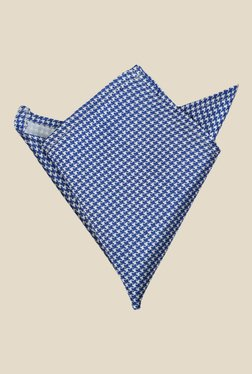 Blacksmith Blue Houndstooth Printed Satin Pocket Square