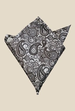 Blacksmith Paisley Printed Black Satin Pocket Square