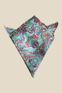 Blacksmith Green Floral Printed Satin Pocket Square