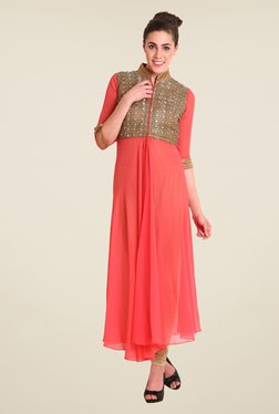 Soie Peach Embroidered Tunic