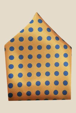 Blacksmith Golden Polka Dots Printed Satin Pocket Square