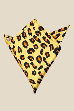 Blacksmith Yellow Leopard Printed Satin Pocket Square