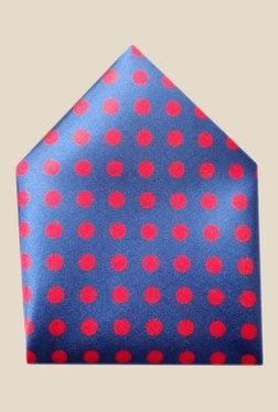 Blacksmith Blue Polka Dots Printed Satin Pocket Square