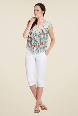 Soie Blue Floral Print Top