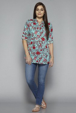 Utsa By Westside Turquoise Floral Print Kurti