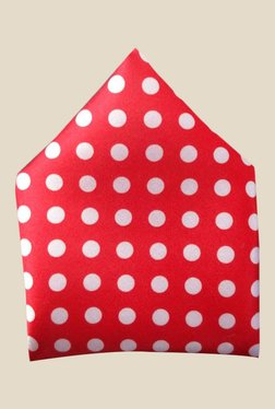 Blacksmith Red Polka Dots Printed Satin Pocket Square